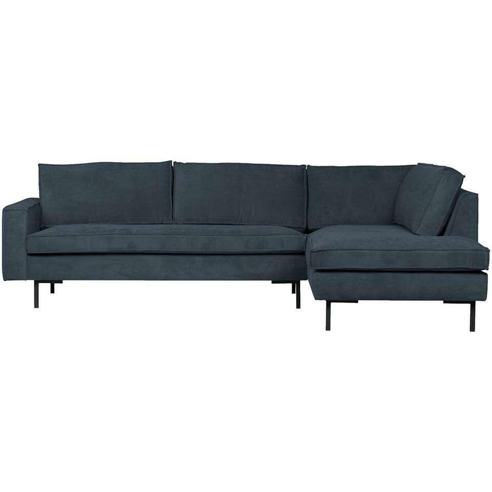 Woood canapé d'angle Arwin angle à droite - bleu acier