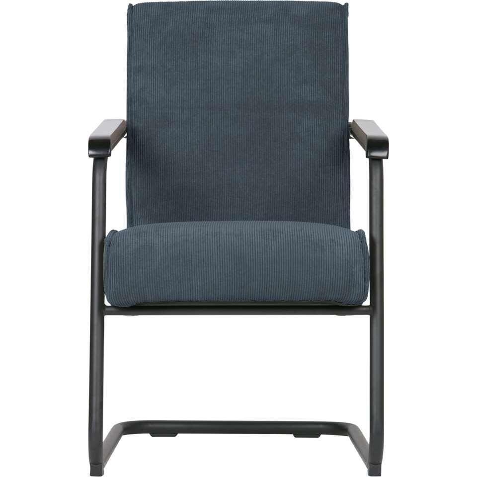 Woood fauteuil Micha - tissu côtelé - bleu acier