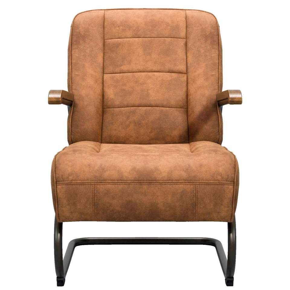 Fauteuil Ivar is een strak vormgegeven industriële fauteuil. Deze leatherlook stoel heeft een vintage cognac kleur en is gestoffeerd met de stof Cowboy.