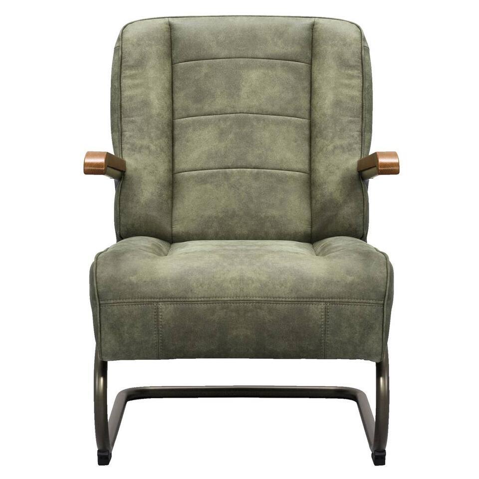 Fauteuil Ivar is een strak vormgegeven industriële fauteuil. Deze leatherlook stoel heeft een vintage olijfgroene kleur en is gestoffeerd met de stof Cowboy.