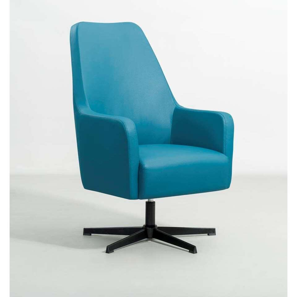 Fauteuil relax Osterbro Valby - look aspect cuir - bleu pétrole