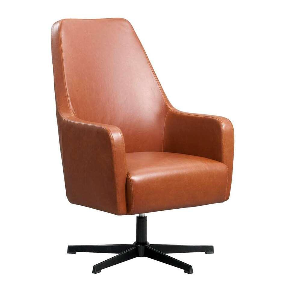 Fauteuil relax Osterbro Valby - look aspect cuir - couleur cognac