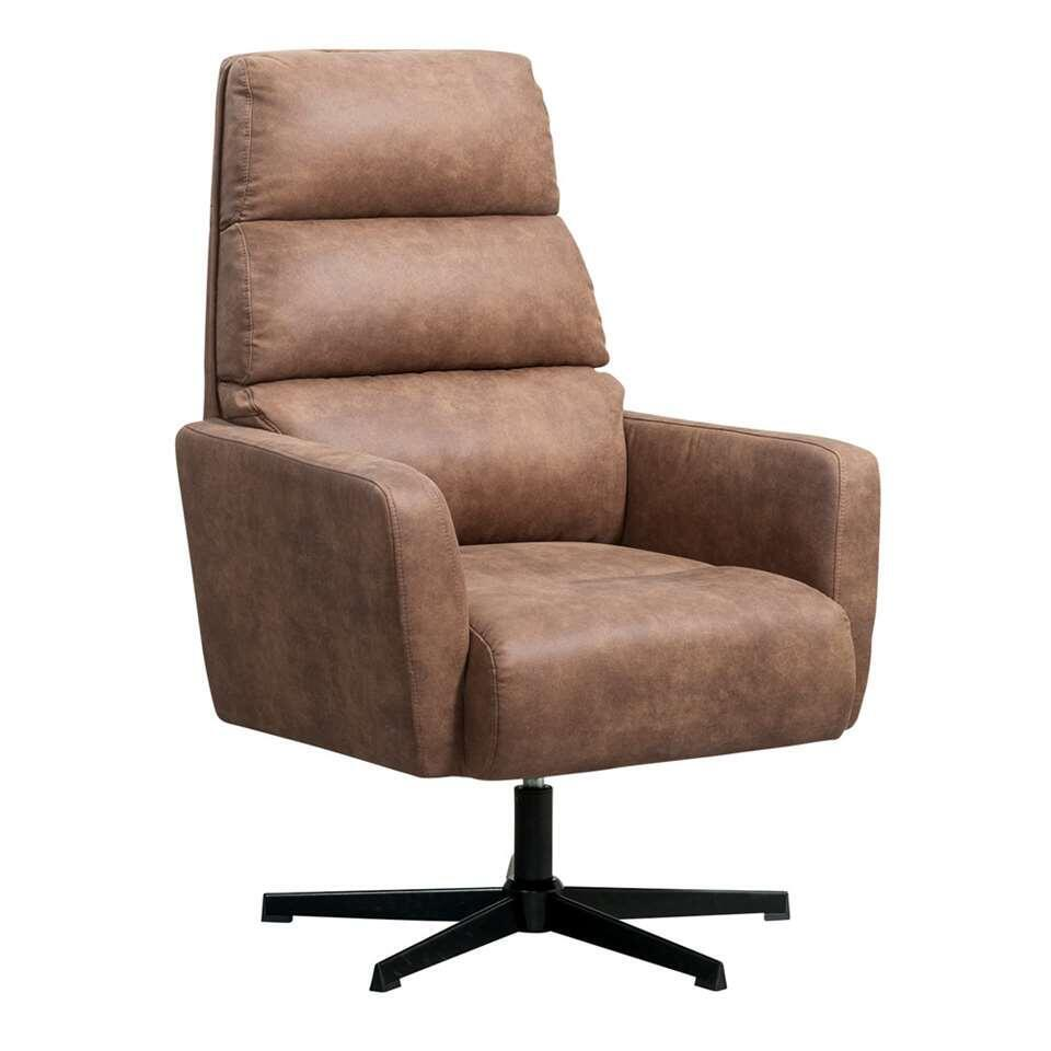 Fauteuil relax Vesterbro Valby - aspect cuir - brun clair
