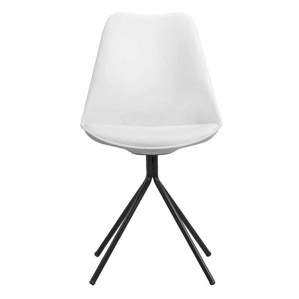 Chaise de salle manger verdal plastique m tal blanche 2 pi ces - Chaise de salle a manger blanche ...