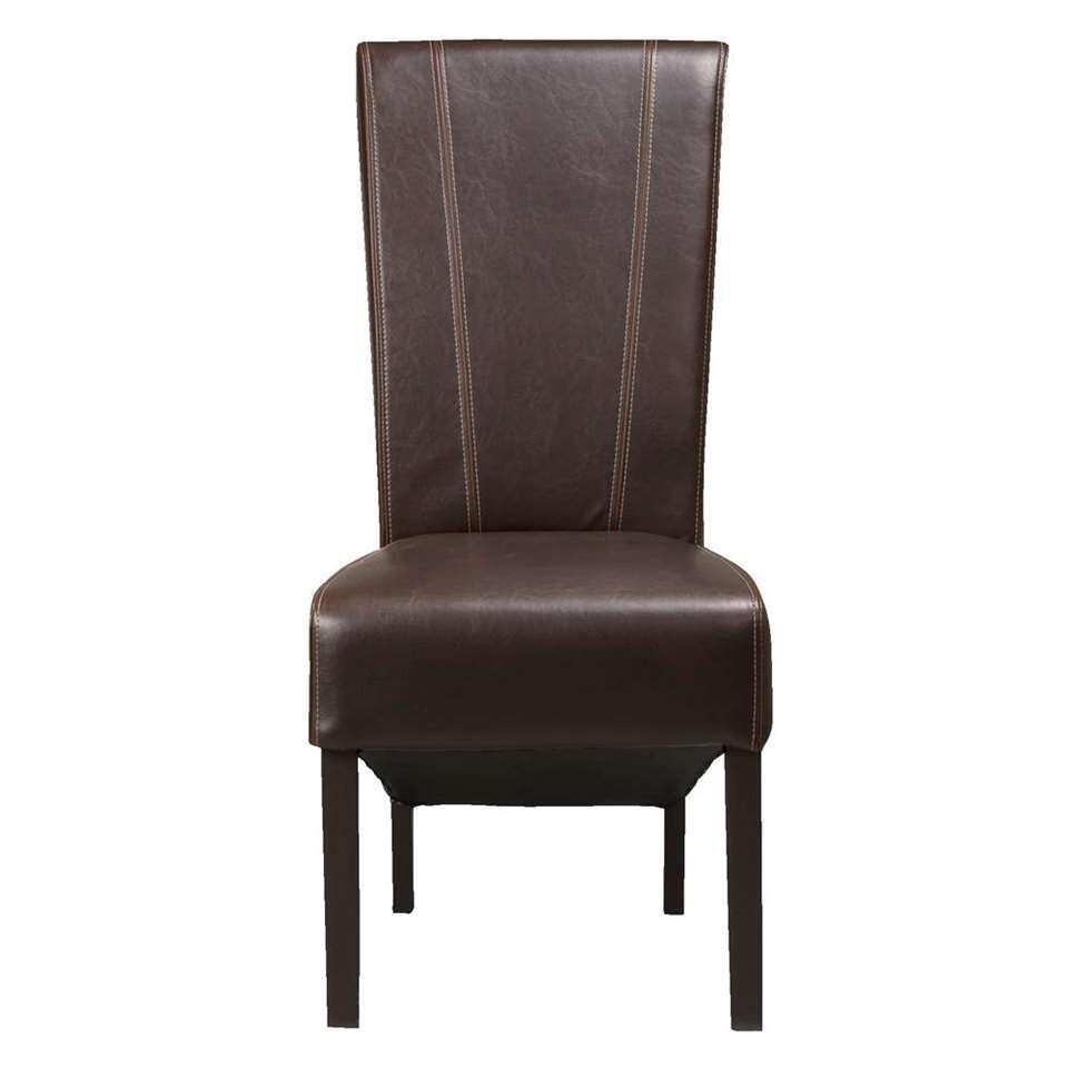 Chaise de salle à manger Verdi - aspect cuir - brun foncé