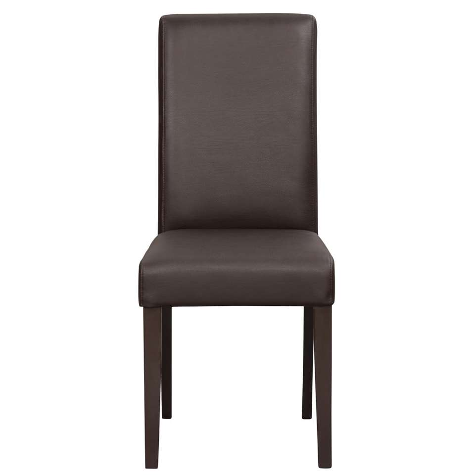 Chaise Serge - aspect cuir - brune