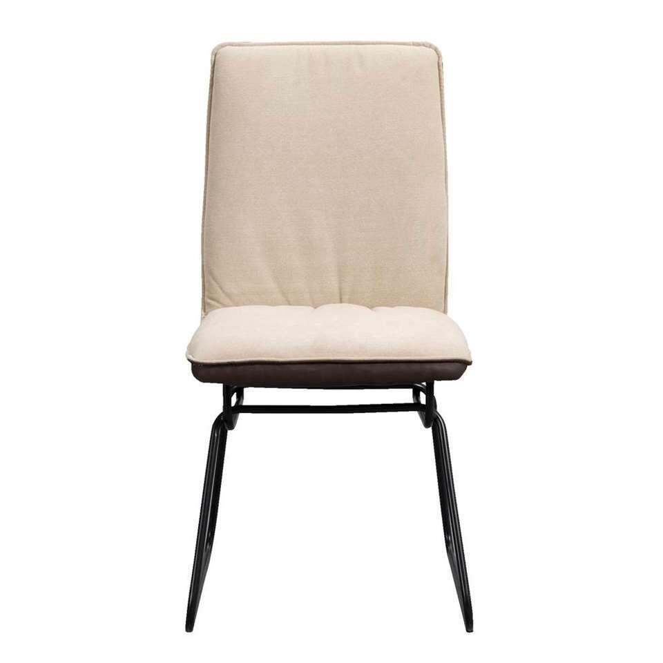 Chaise Salvador - similicuir/tissu - marron/beige