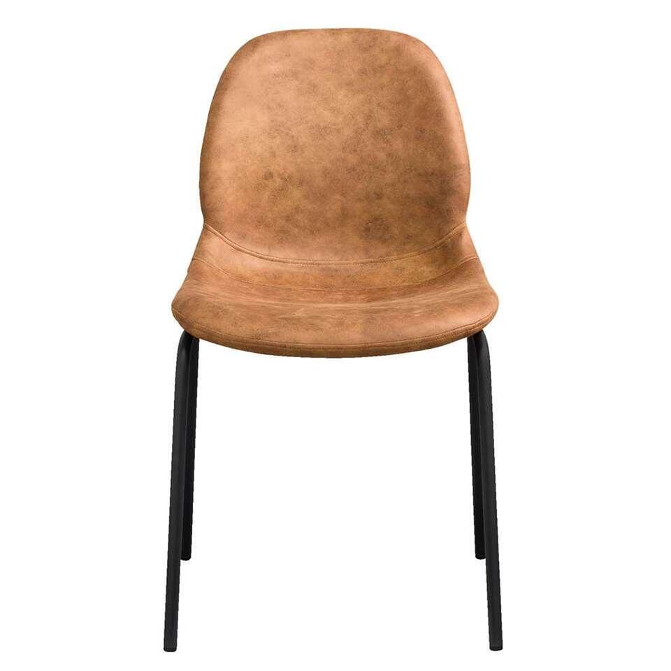 Chaise de salle à manger Mano - tissu - couleur cognac