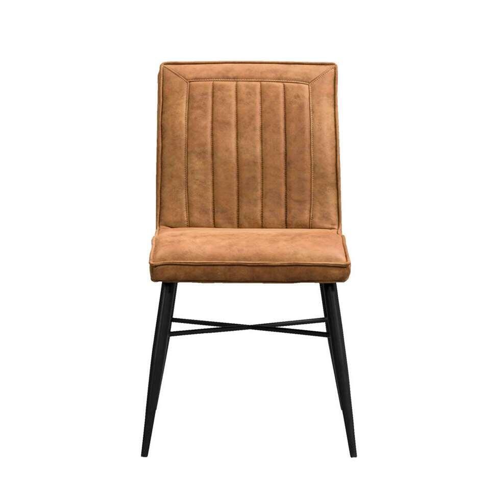 Chaise de salle à manger Novan - tissu - cognac