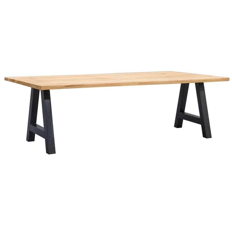 Table de salle à manger Houston pieds A - 75x240x100 cm - chêne/noir