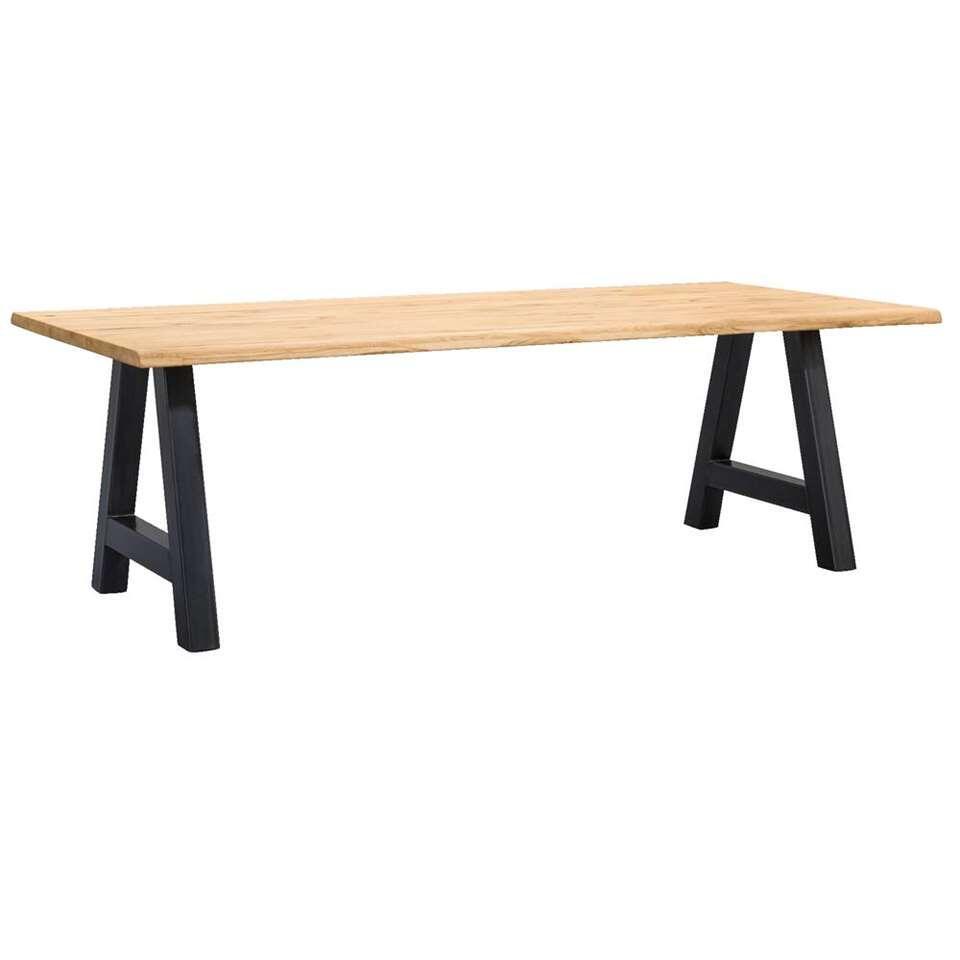 Table de salle à manger tronc Houston pieds A - 75x220x100 cm - chêne/noir
