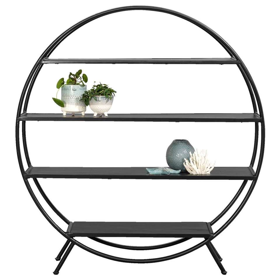 Breng een eigen, unieke stijl in huis met dit stijlvolle rek Kick. Kick is rond en het frame is gemaakt van zwart metaal.
