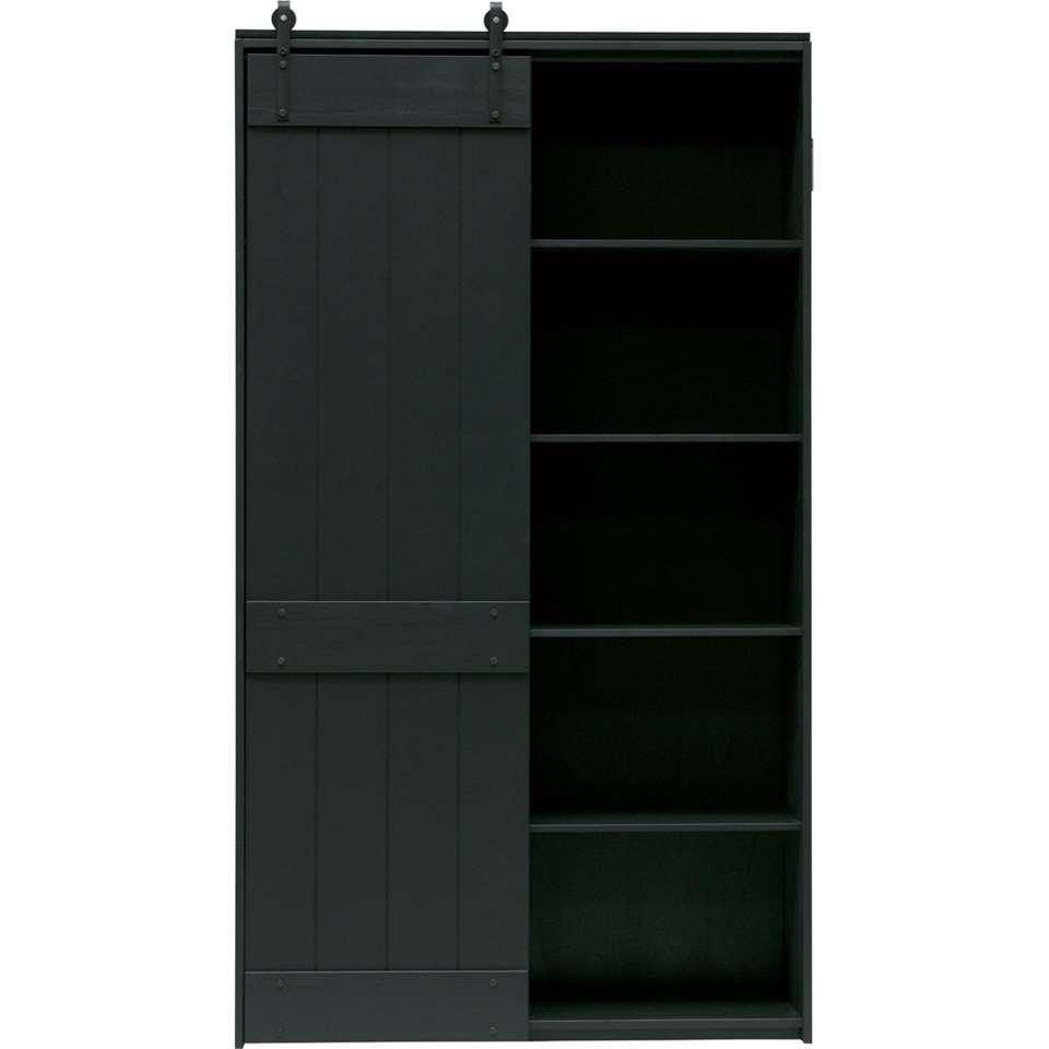 Woood schuifdeurkast Derby - zwart - 200x115x40 cm