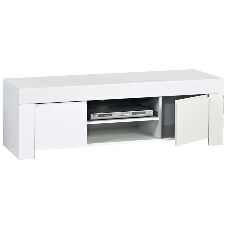 Tv dressoir amalfi hoogglans wit 45x140x50 cm for Tv dressoir hoogglans wit