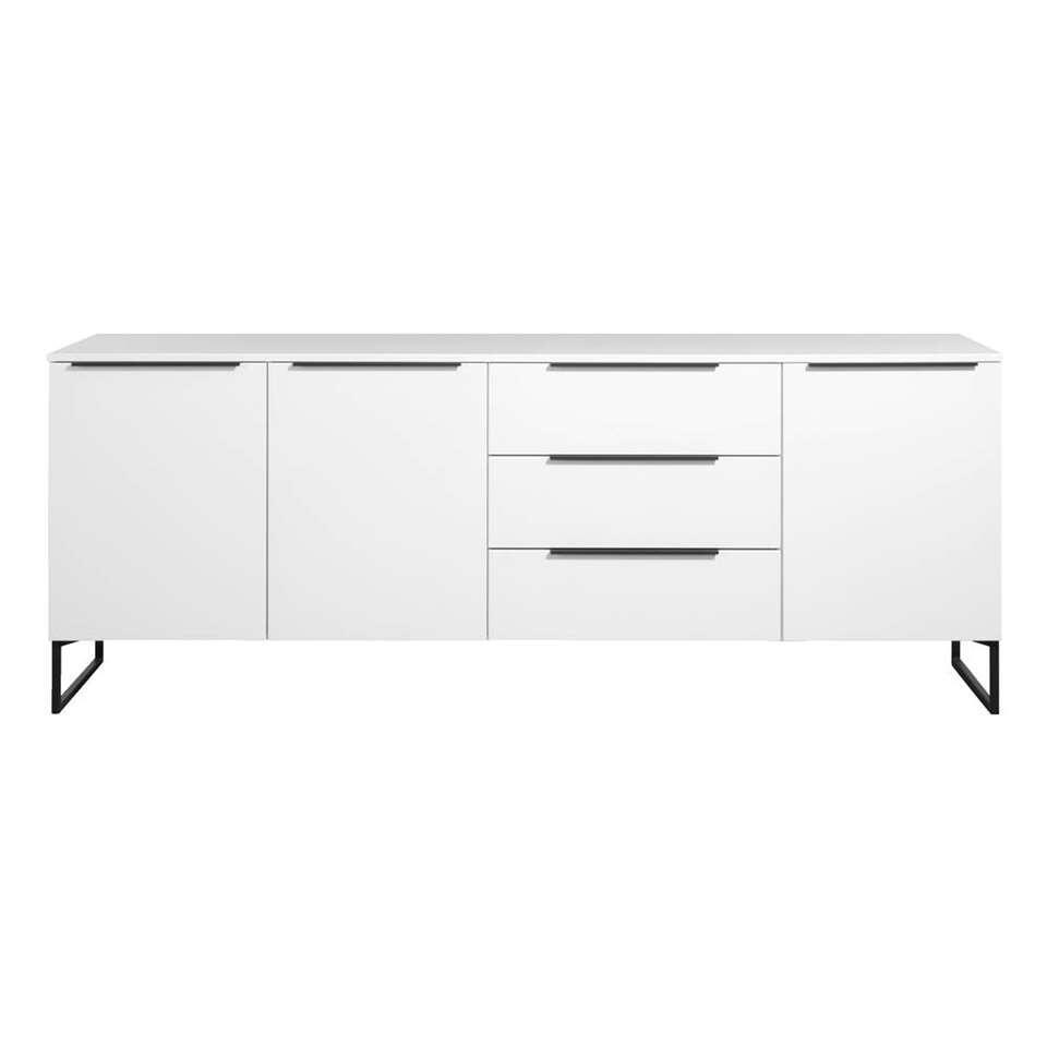 Dressoir Malaga - blanc/noir - 88x228x48 cm