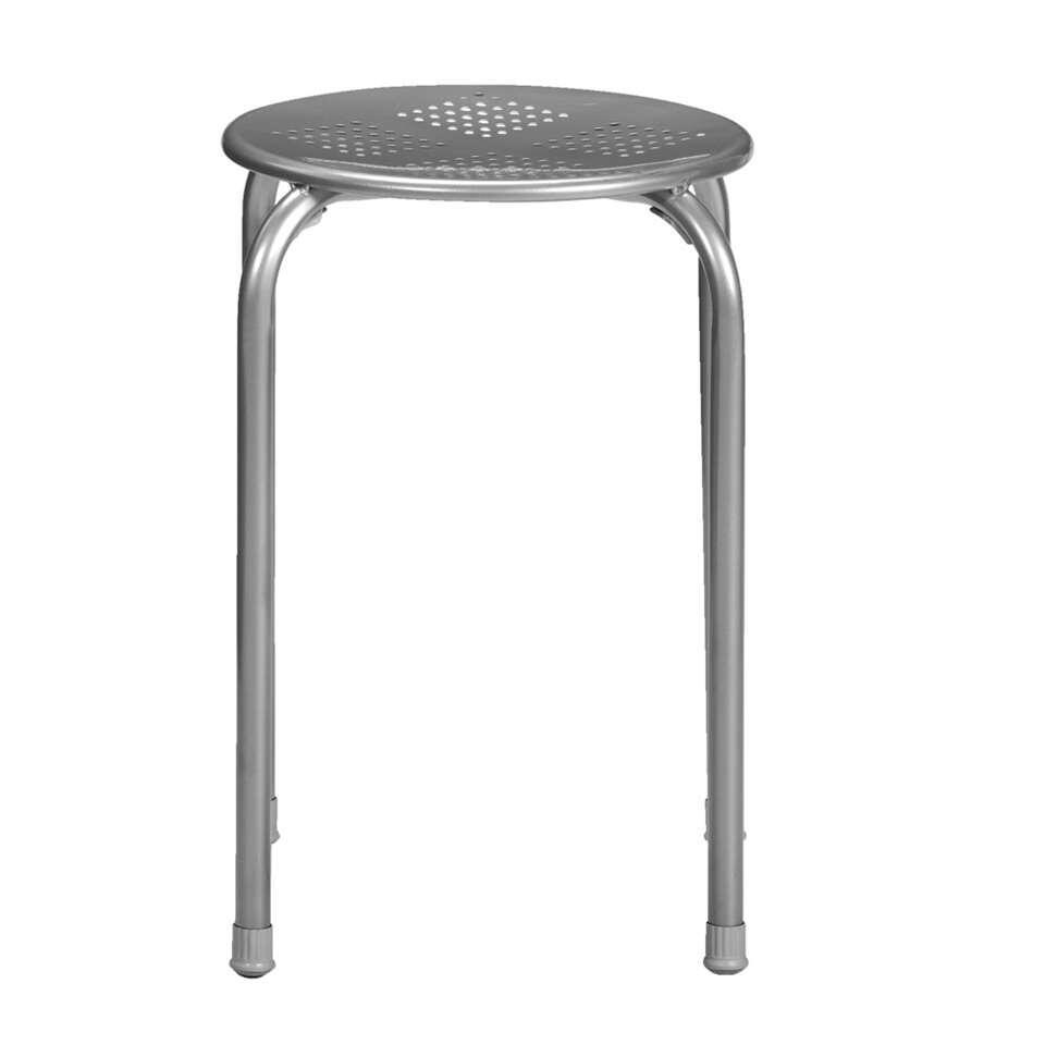 Kruk Ede - zilverkleur - 45x37x37 cm