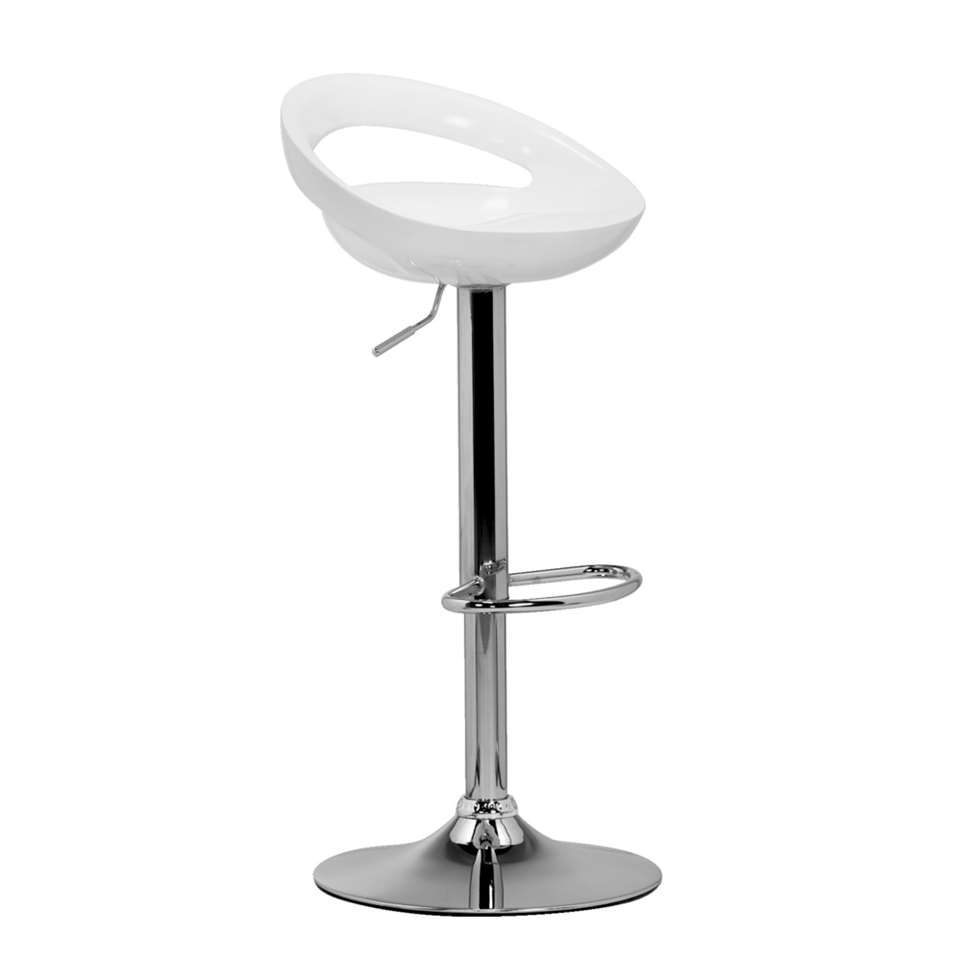 Tabouret de bar Hamburg - blanc/chrome