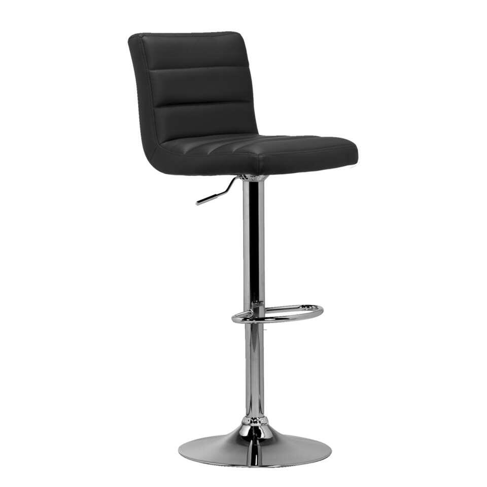 Tabouret de bar leeds noir couleur chrome for Tabouret bar couleur