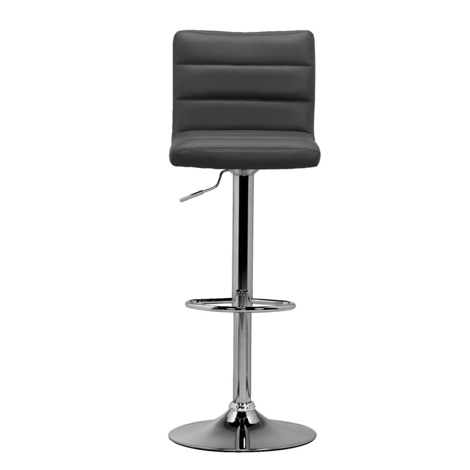 Tabouret de bar leeds gris couleur chrome for Tabouret bar couleur