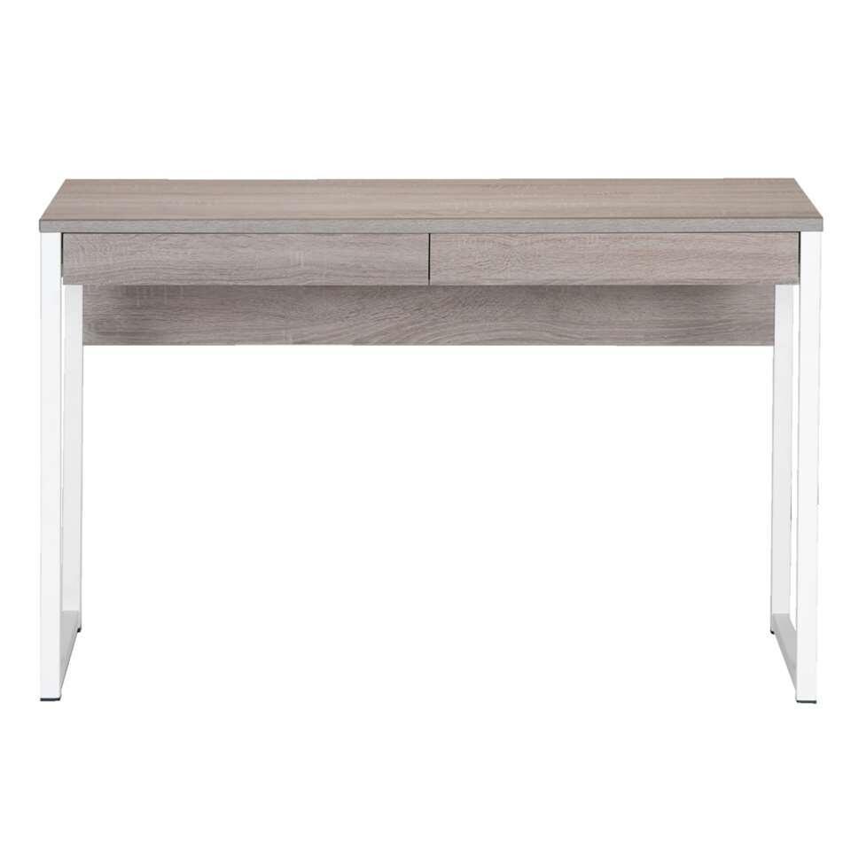 Le bureau Napels allie un design rustique et une touche de modernité. Le bois couleur truffe du plateau est accentué par la structure en métal blanc, qui apporte à l'ensemble un look remarquable.