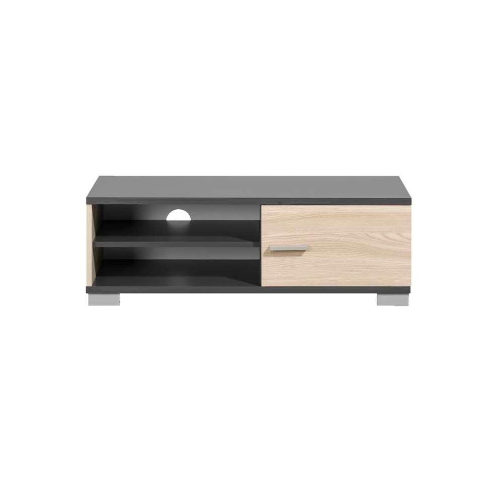 meuble tv boston gris et couleur de bois 35x100x40 cm. Black Bedroom Furniture Sets. Home Design Ideas