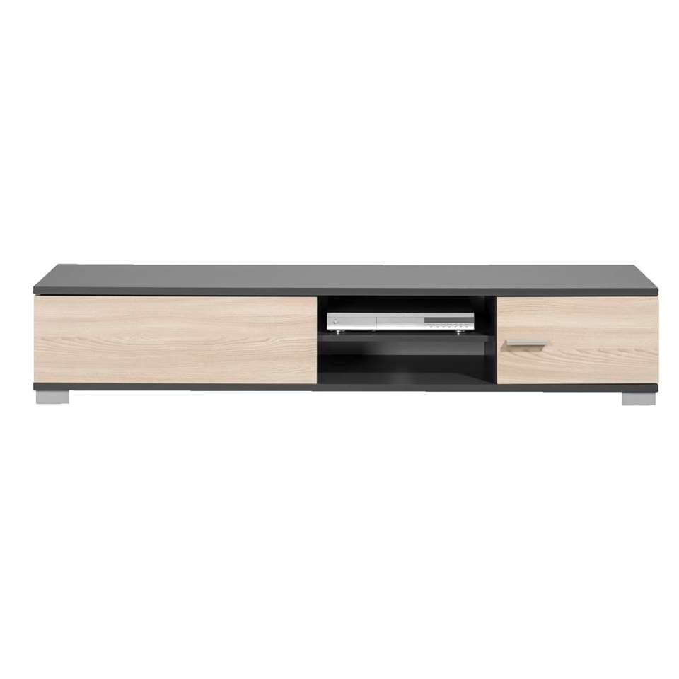 meuble tv boston gris et couleur de bois 35x180x40 cm. Black Bedroom Furniture Sets. Home Design Ideas