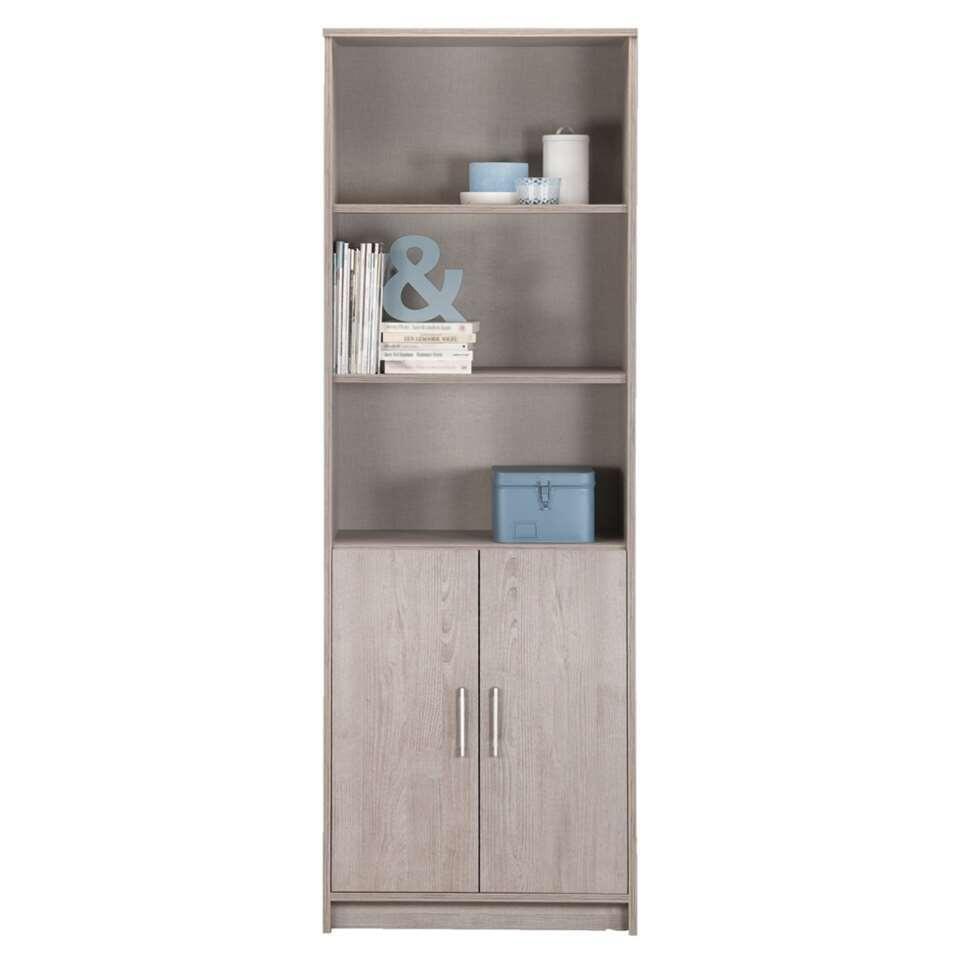 biblioth que basel couleur ch ne gris avec portes. Black Bedroom Furniture Sets. Home Design Ideas