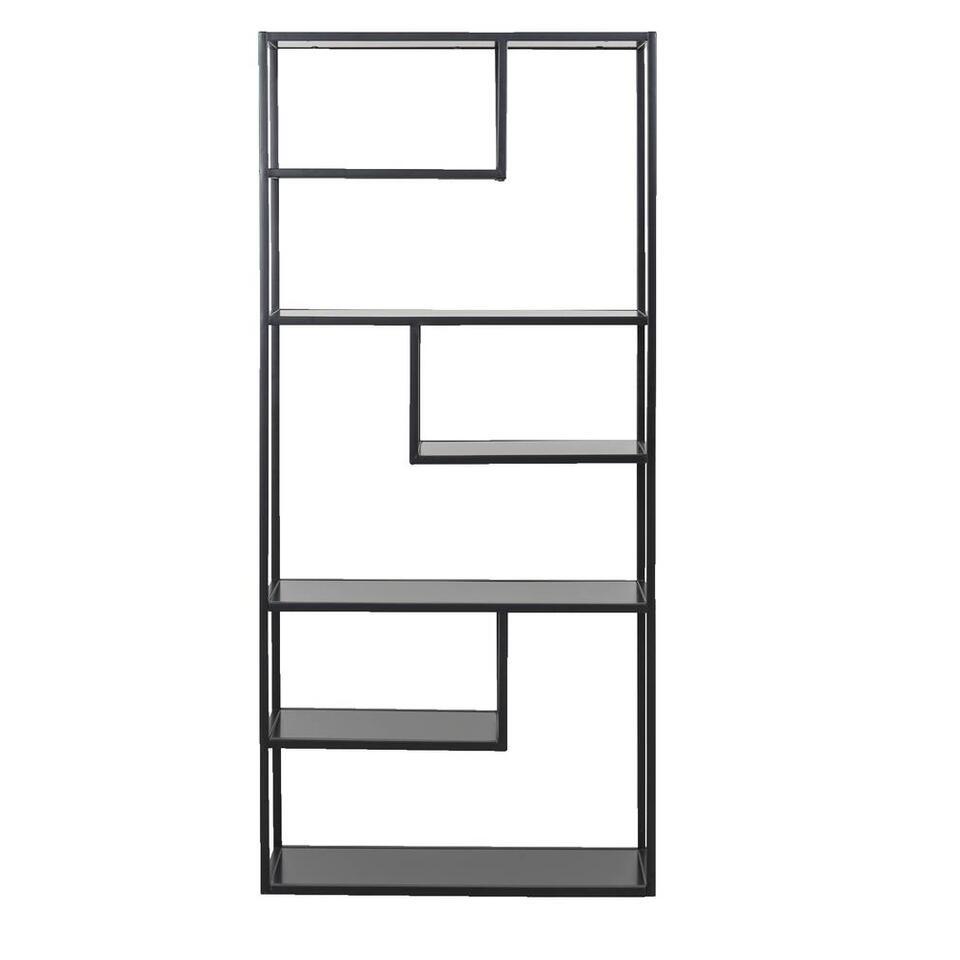 Woood boeken kast Teun - zwart - 188x85x35 centimeter