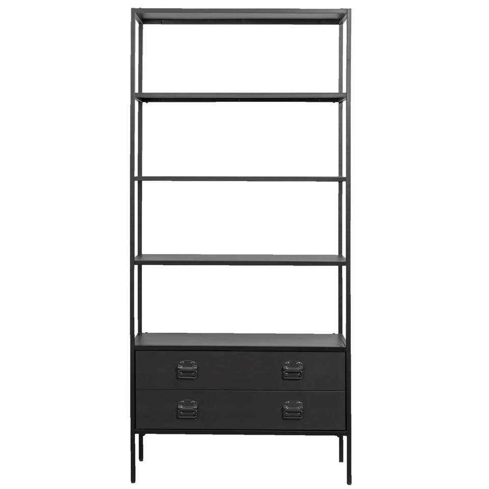 Woood bibliothèque Derby - noire - 205x95x38 cm