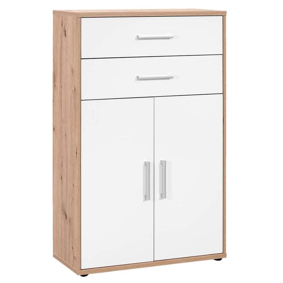 Rangement Belmont 2 portes, 2 tiroirs - couleur chêne/blanc - 123,2x78x35,4 cm