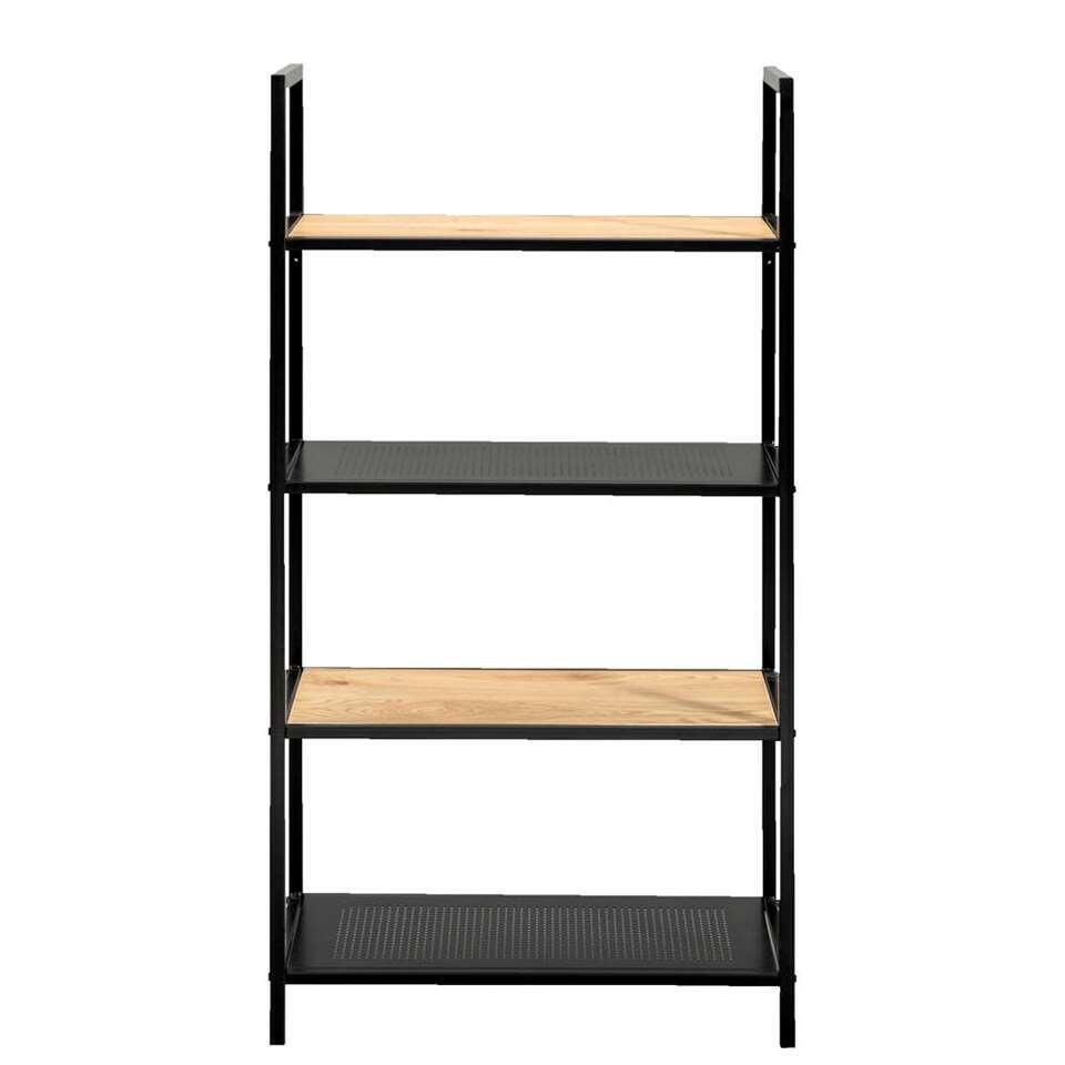 Boekenkast Debbey - zwart/naturelkleur - 119x64,5x30 cm