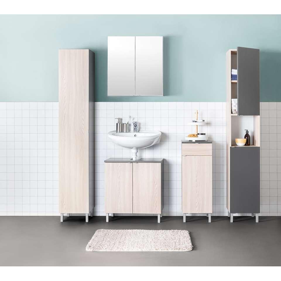 rangement sous lavabo milaan gris couleur ch ne fonc. Black Bedroom Furniture Sets. Home Design Ideas