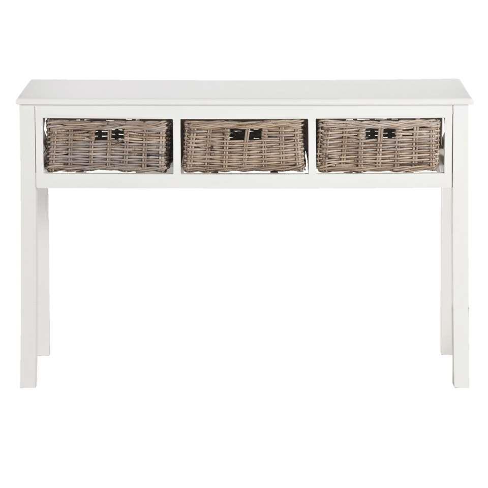 Op zoek naar een bijzondere sidetable? De Valerie haltafel heeft een klassieke uitstraling. De tafel is uitgevoerd in off-white en heeft drie uitschuifbare manden van rotan.