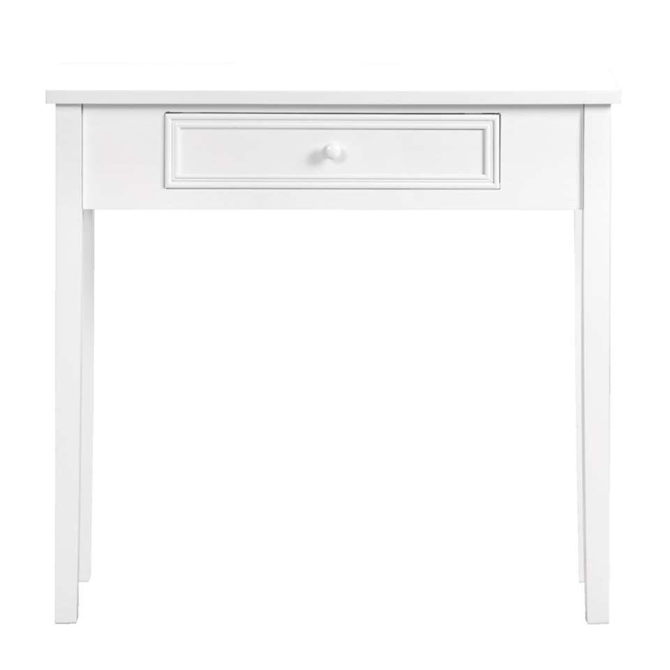 Sidetable Sophie is vervaardigd uit wit MDF, wat de romantische stijl accentueert. Behalve als haltafel is deze tafel ook goed te gebuiken als bijzettafel in de woonkamer of kaptafel in een romantisch ingerichte slaapkamer.