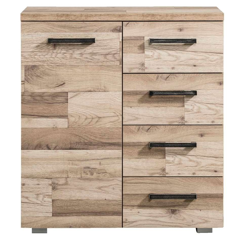 Rangement Gomera 1 porte et 4 tiroirs - structure de bois - 85x78x38 cm