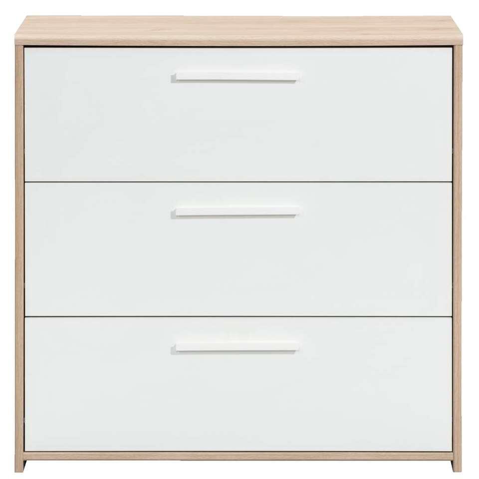 Commode Oslo 3 tiroirs - couleur chêne/blanche - 79x80x40 cm