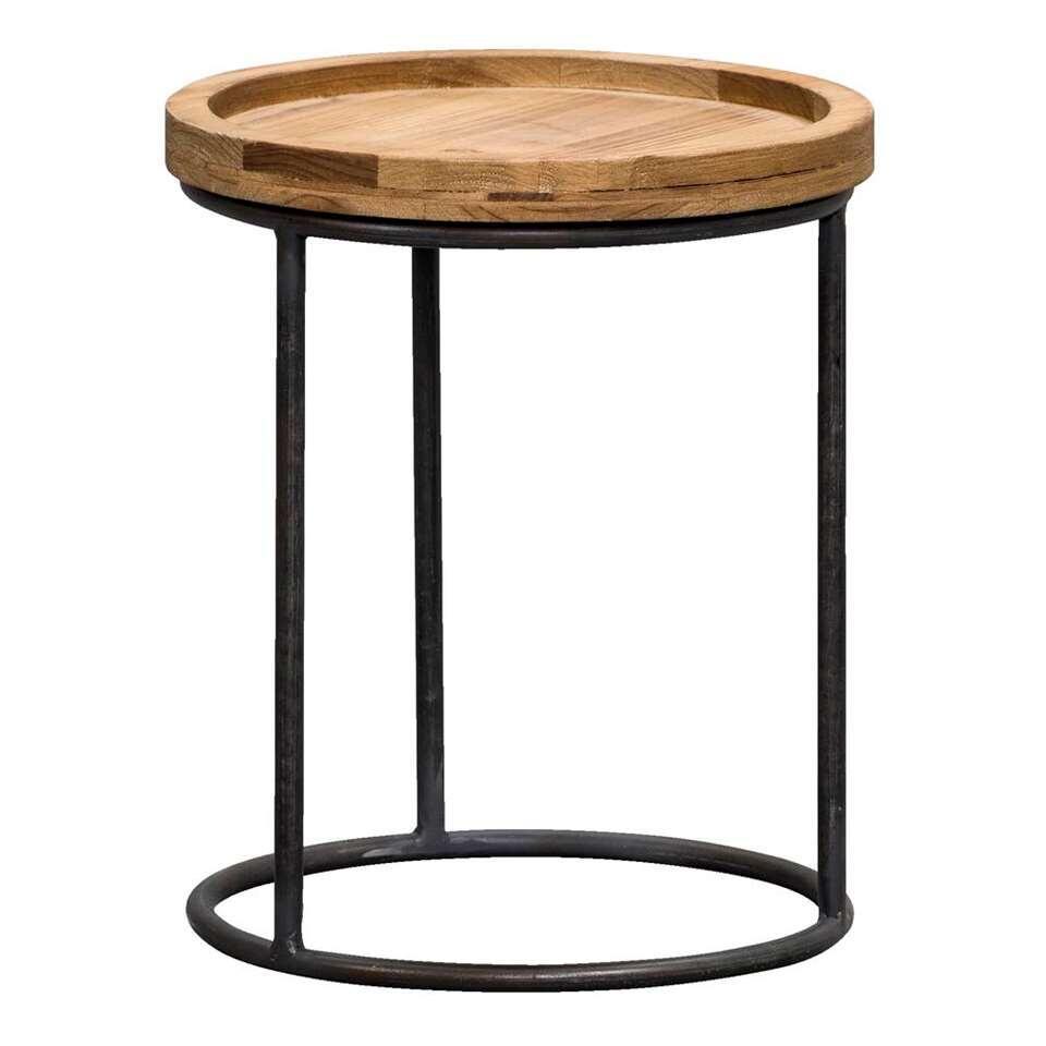 La table d'appoint Tuur est une table pratique. Cette table moderne est équipée d'un châssis noir et d'un plateau en bois couleur naturelle.