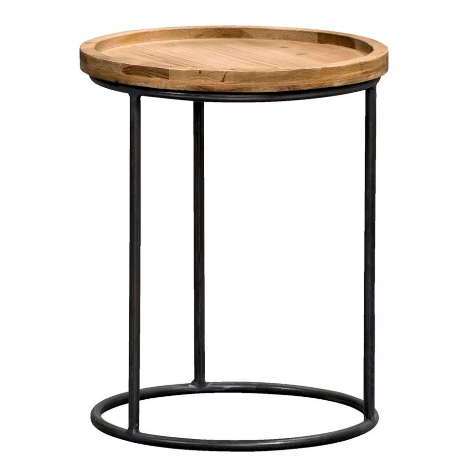 Table d'appoint Tuur - noir/couleur naturelle - 39xØ31 cm