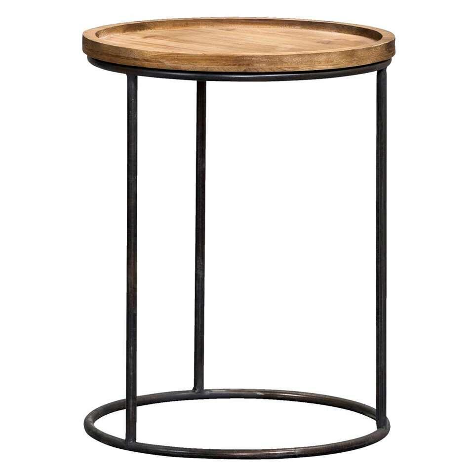 La table d'appoint Tuur est une table très pratique. Cette table moderne est dotée d'un châssis noir et d'un plateau en bois couleur naturelle.