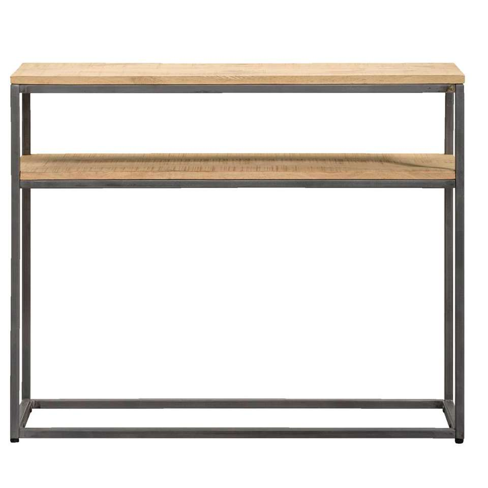 Table murale Logan - couleur naturelle/grise - 79x100x30 cm