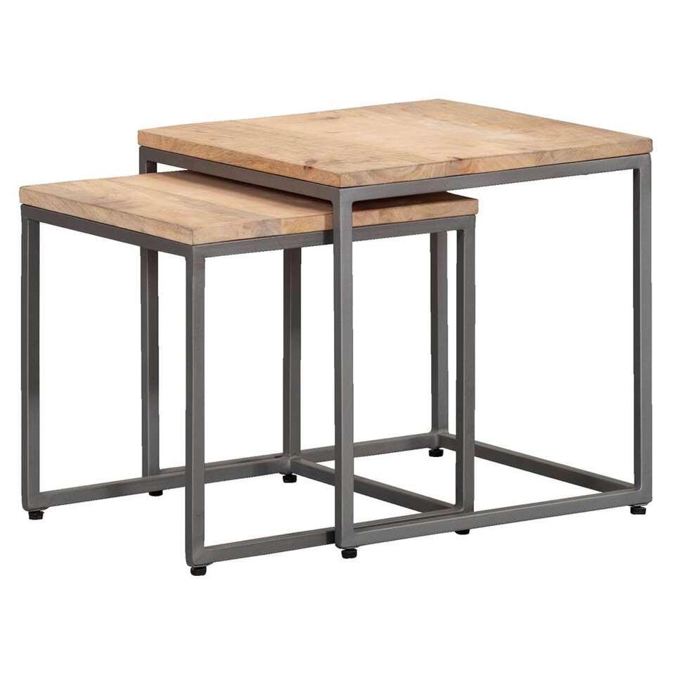 Lot de tables d'appoint Logan - couleur naturelle/grise