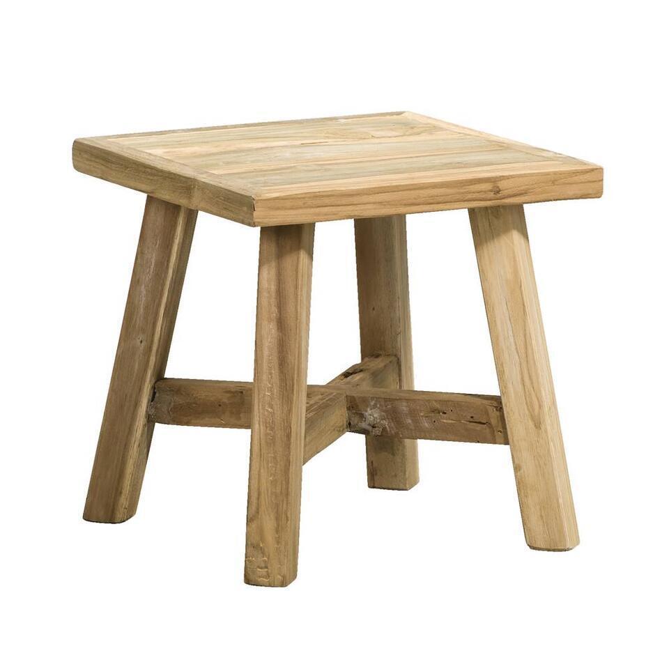 Plantentafel Imre is een stoer tafeltje perfect om een mooie plant, bos bloemen of ander accessoire op te zetten. Dit tafeltje is gemaakt van gerecycled teak. U kunt dit tafeltje natuurlijk ook als bijzettafeltje gebruiken.