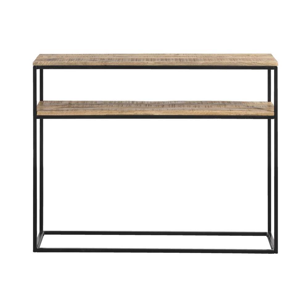 Sidetable Kyan - zwart/naturelkleur - 79x100x30 cm