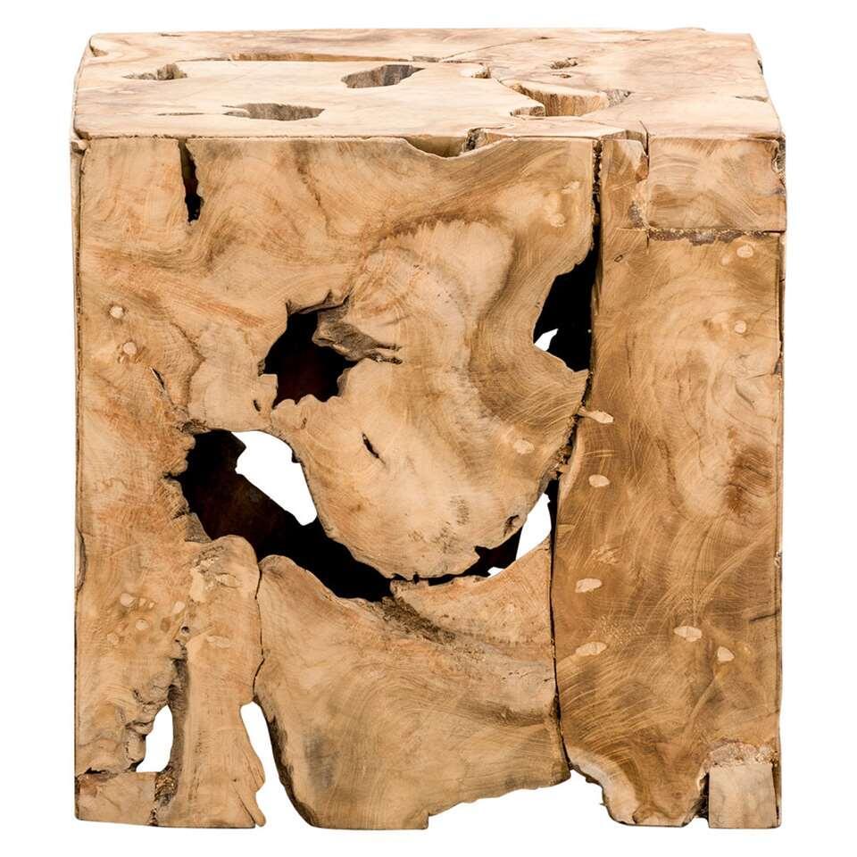 Dit opvallende, decoratieve blok is gemaakt van teakhout en is 37x37x37 cm groot. Houdt u van natuurlijke materialen? Dan is dit meubel echt iets voor u.