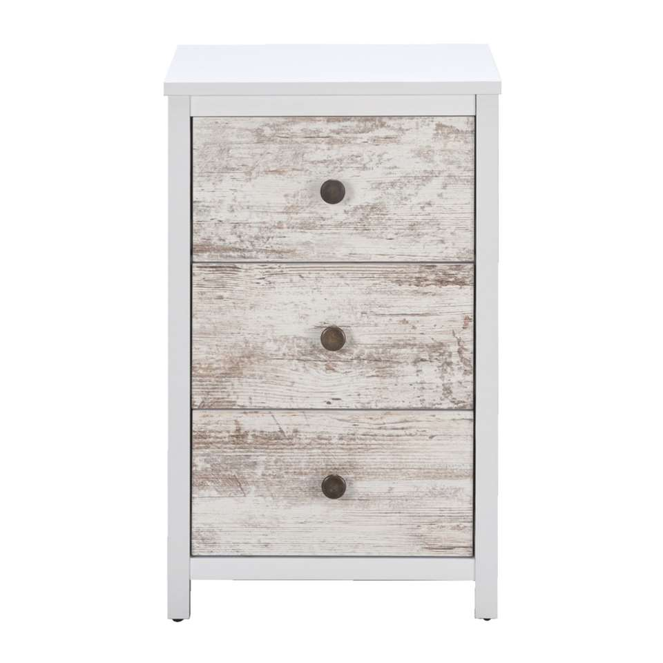 Kast Menno heeft een stoere steigerhoutlook en is wit van kleur. De kast heeft 3 lades en is 63x39x33 cm. Zet dit stoere kastje in de woonkamer, slaapkamer of in de gang.
