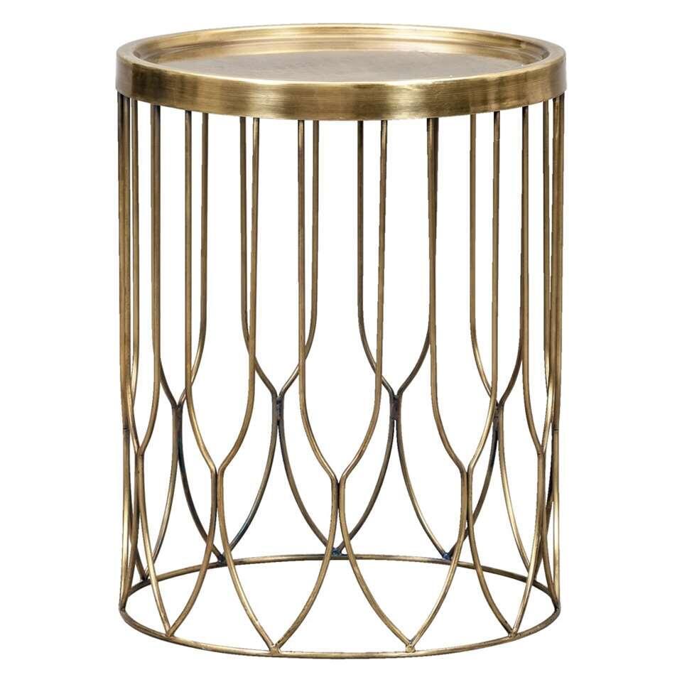 La table d'appoint Verdi est une table moderne faite de métal. Présentez vos décorations ou choses pratiques sur le plateau large de cette table en couleur laiton.