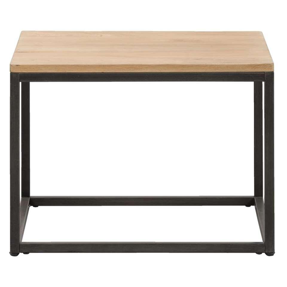 Salontafel Vancouver is een handig tafeltje. Deze moderne tafel heeft een zwart frame en een naturelkleurig/grijs tafelblad van eikenfineer.