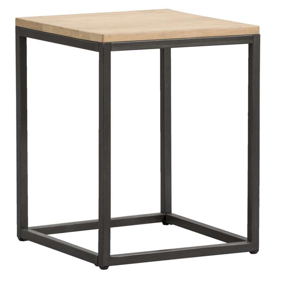 Bijzettafel Vancouver is een handig tafeltje. Dit moderne tafeltje heeft een zwart frame en een naturelkleurig/grijs tafelblad van eikenfineer.