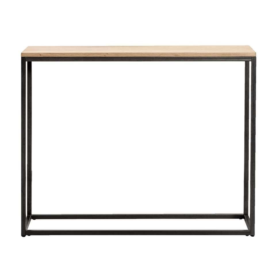 La console Vancouver est équipée d'un plateau placage de chêne et d'un châssis en métal gris. Cette petite table simple, robuste mais stylée est faite pour dans le hall ou la chambre 1é coucher.