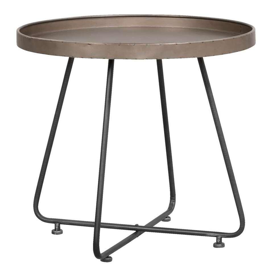 Bijzettafel Tristan heeft een industriële tin look en voldoet daarmee helemaal aan de laatste trends. De ruwe afwerking en het metalen onderstel maken de tafel extra bijzonder.